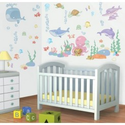 Walltastic Baby Under The Sea Decor Kit Stickers