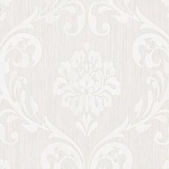 P+S International White Damask Wallpaper 13110-10
