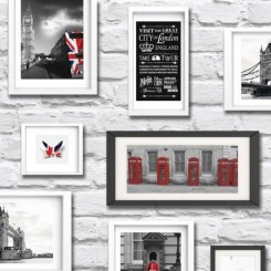 Muriva Britain in Frame Wallpaper Red White Black