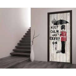 1Wall Keep Calm and Carry On London Door Wallpaper