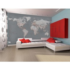 1Wall Grey & White World Map Wall Mural